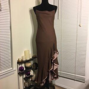 BCBG Max Azria Brown and Blush Ruffle Maxi Dress